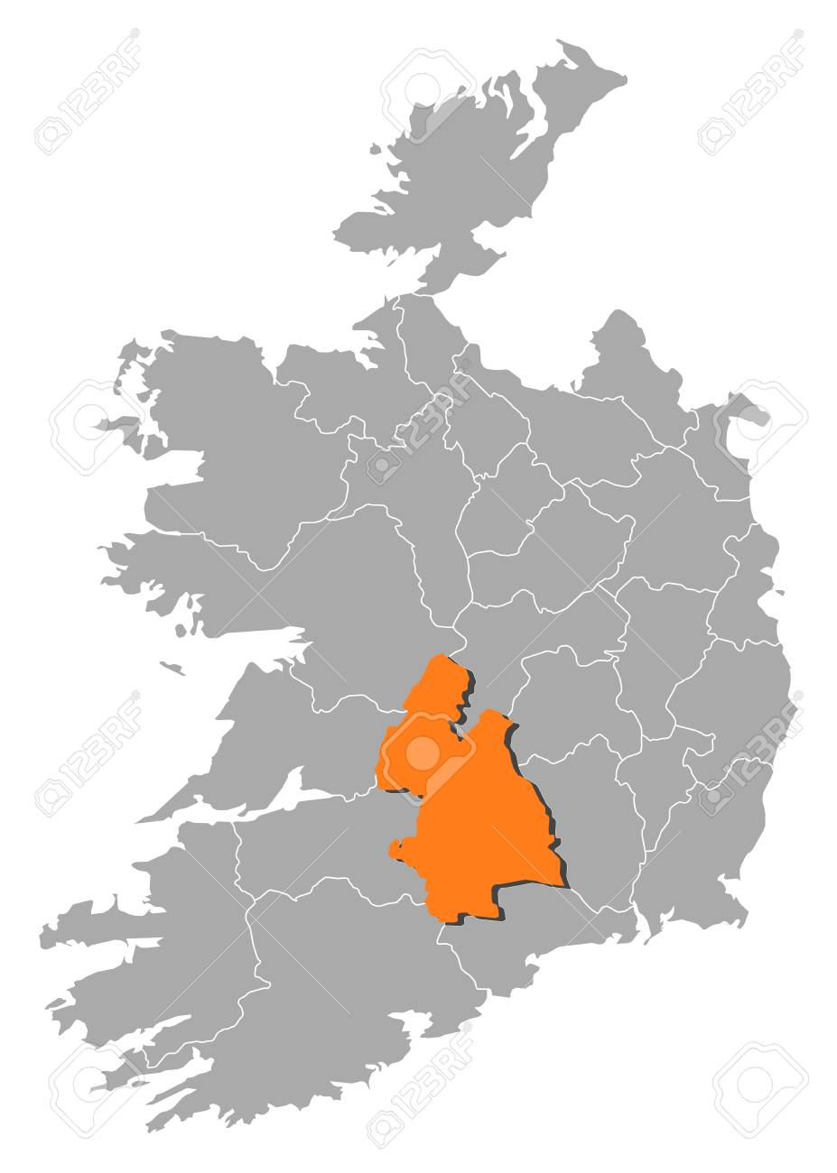 Map Of Ireland With The Provinces Tipperary Is Highlighted By