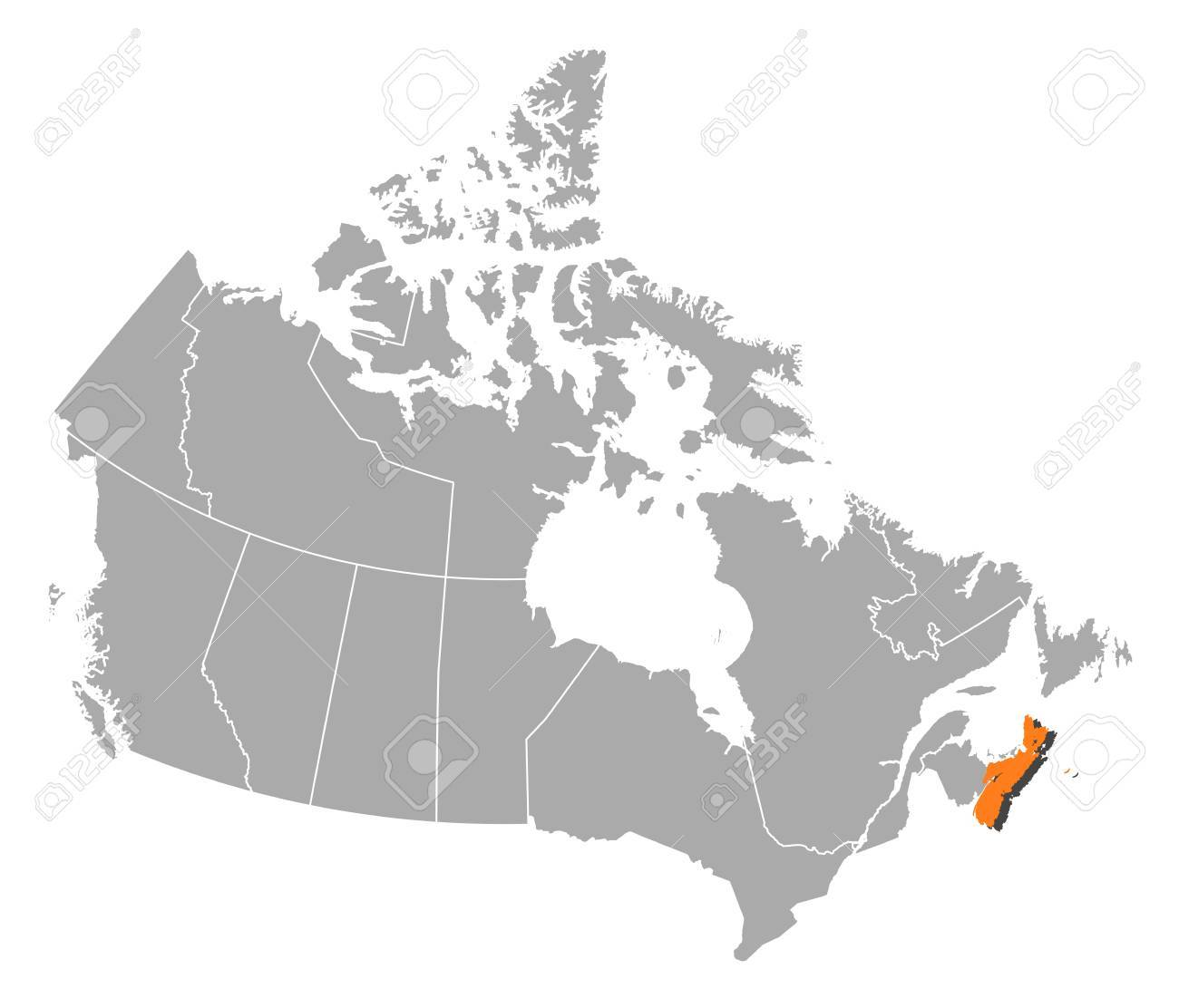 Map Of Canada With The Provinces Nova Scotia Is Highlighted