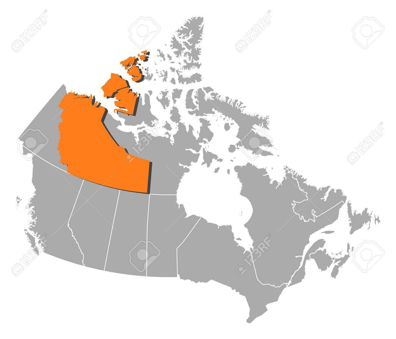 Carte Canada Nord Ouest.Carte Du Canada Avec Les Provinces Les Territoires Du Nord Ouest Sont Surlignes En Orange