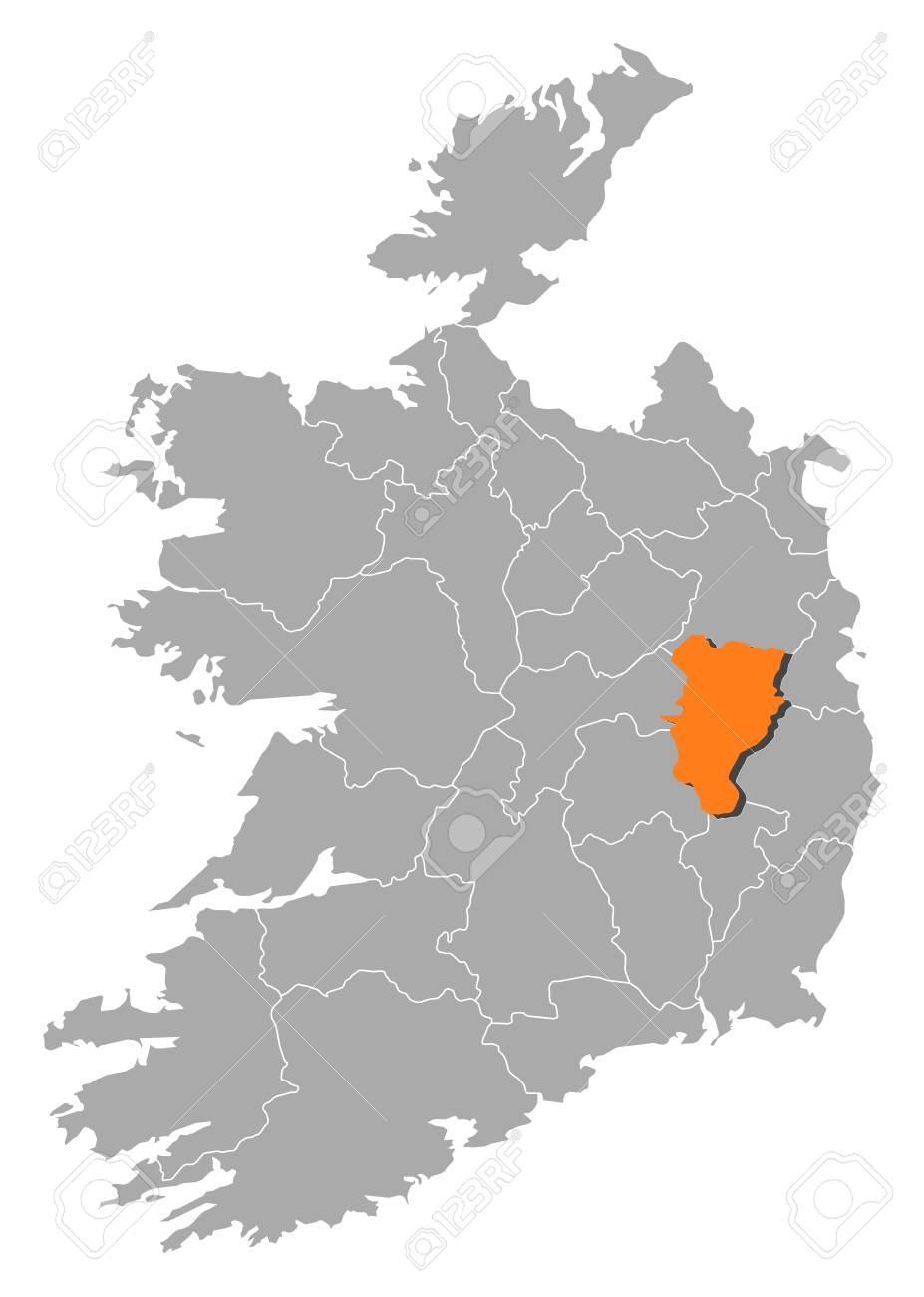 Map Of Ireland With The Provinces Kildare Is Highlighted By