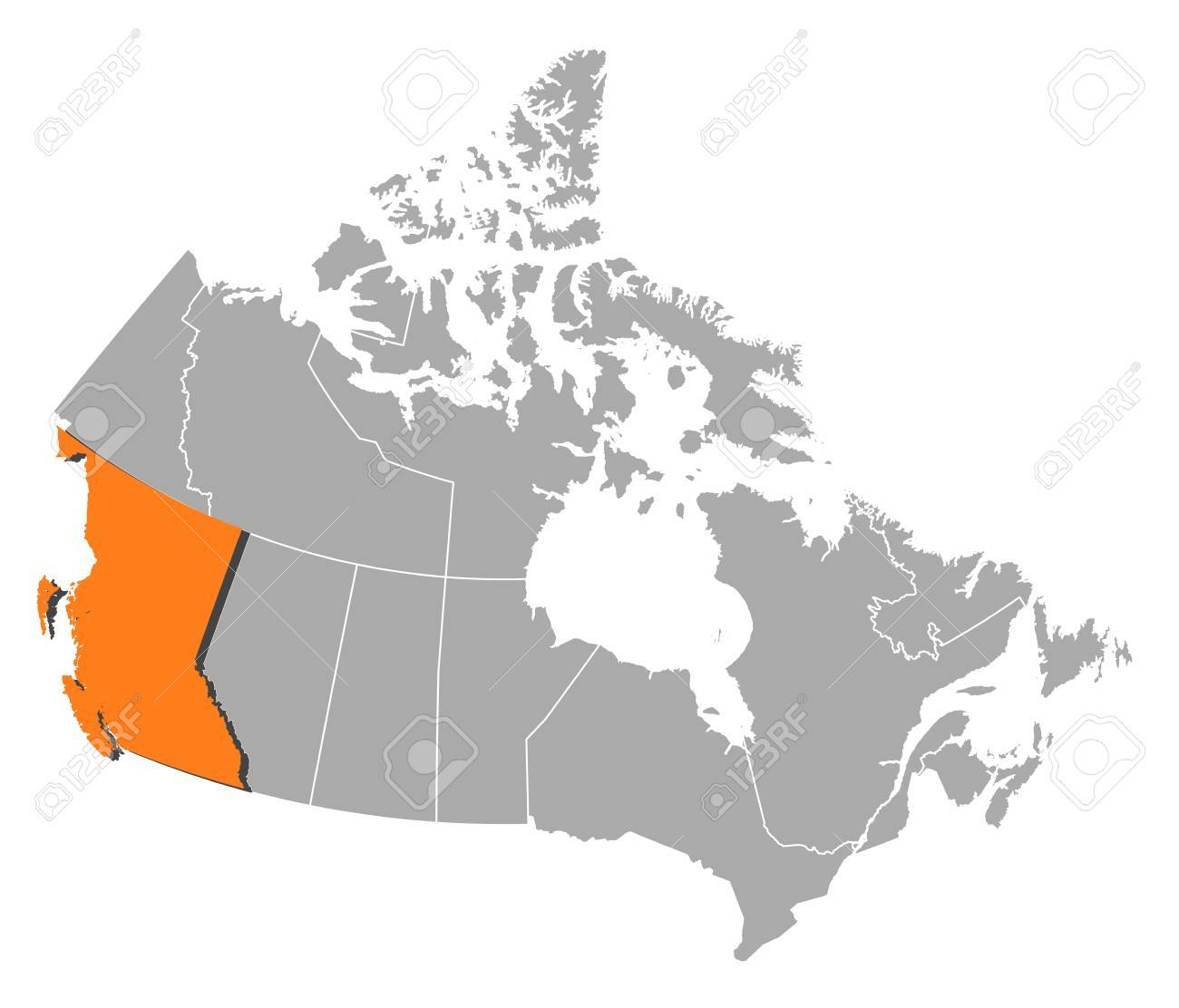 Map Of Canada British Columbia.Map Of Canada With The Provinces British Columbia Is Highlighted