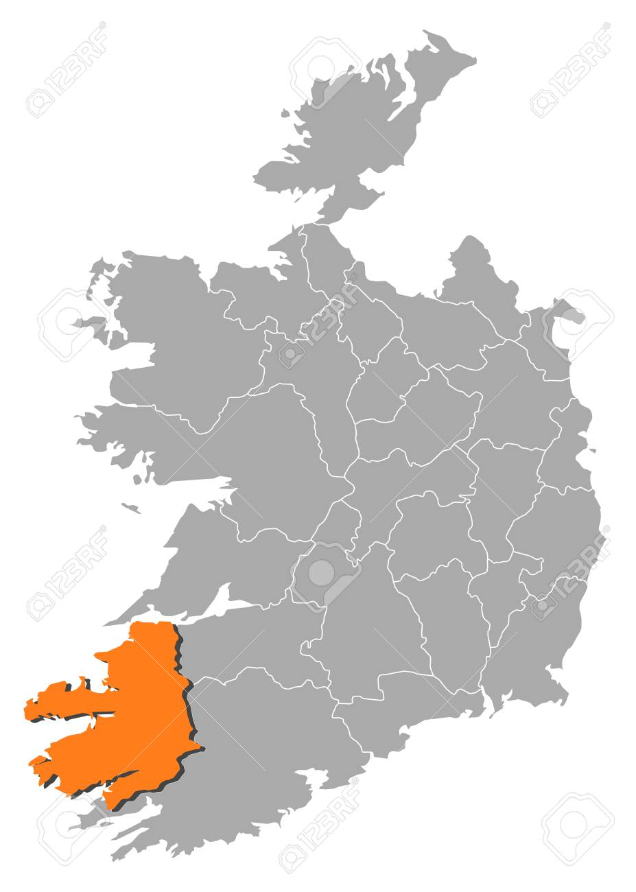 Map Of Ireland Kerry Region.Map Of Ireland With The Provinces Kerry Is Highlighted By Orange