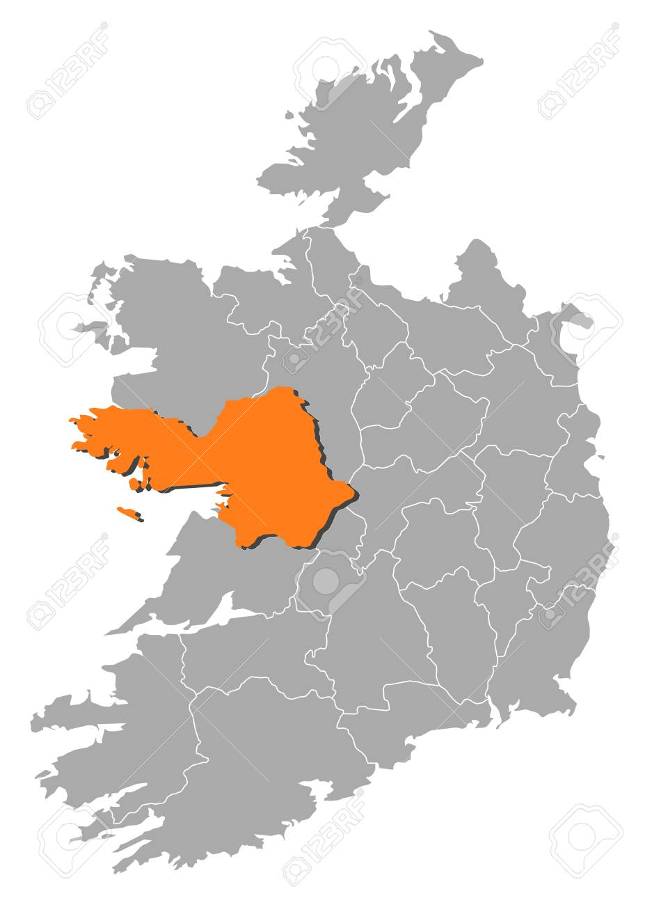 Galway On Map Of Ireland.Map Of Ireland With The Provinces Galway Is Highlighted By Orange