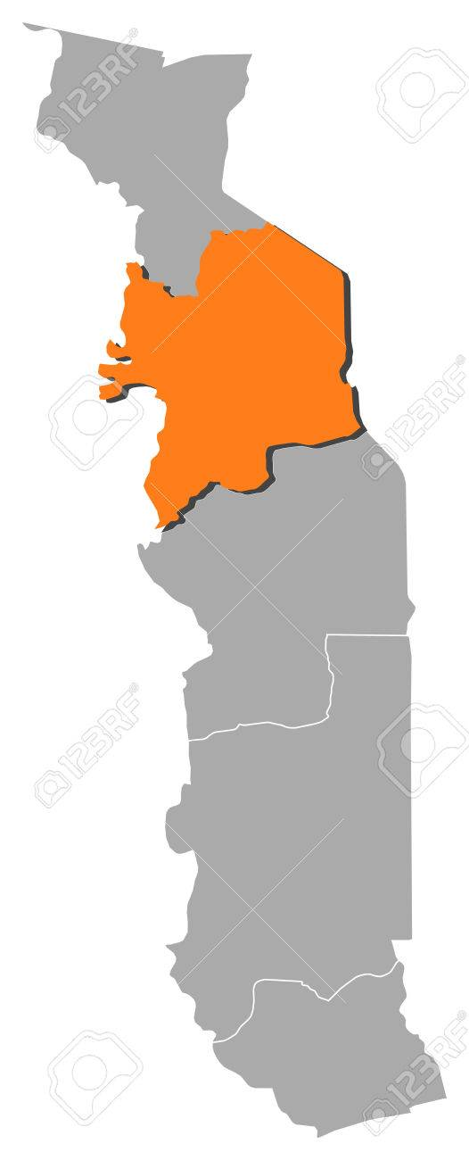 Map Of Togo With The Provinces, Kara Is Highlighted By Orange ...