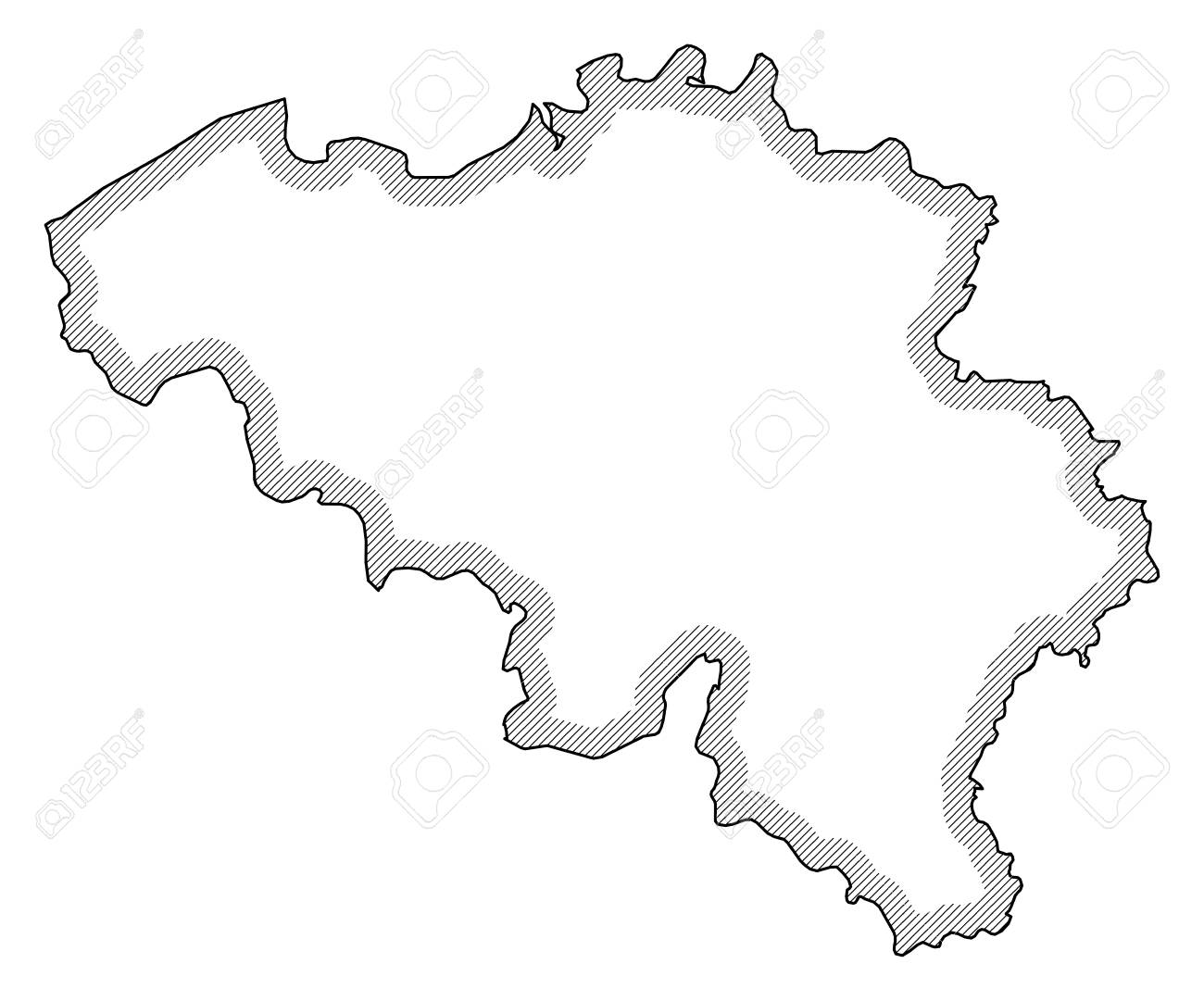 Carte Belgique Noir Et Blanc.Carte De La Belgique En Noir Et Blanc La Belgique Est Mise En Evidence Par Une Hachure