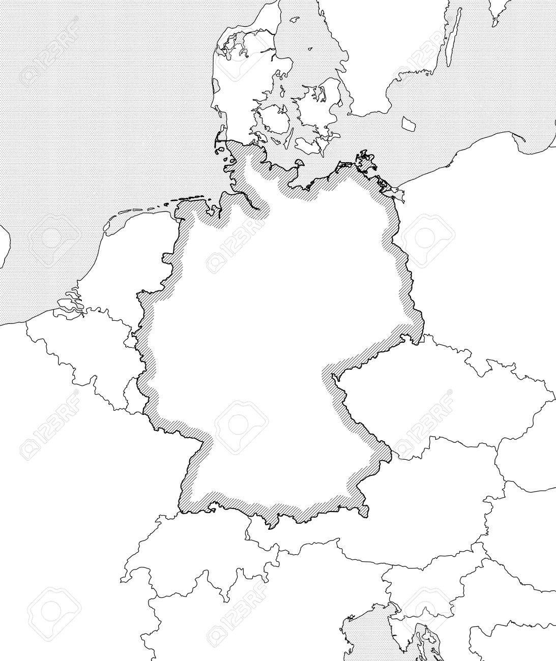 Carte Allemagne Noir Et Blanc.Carte De L Allemagne Et Les Pays Voisins En Noir Et Blanc L Allemagne Est Mise En Evidence Par Une Eclosion