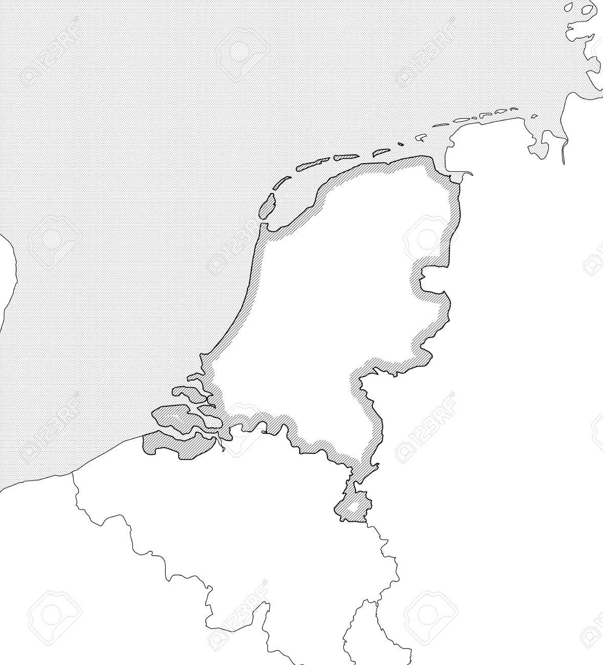 Niederlande Karte Umriss.Stock Photo