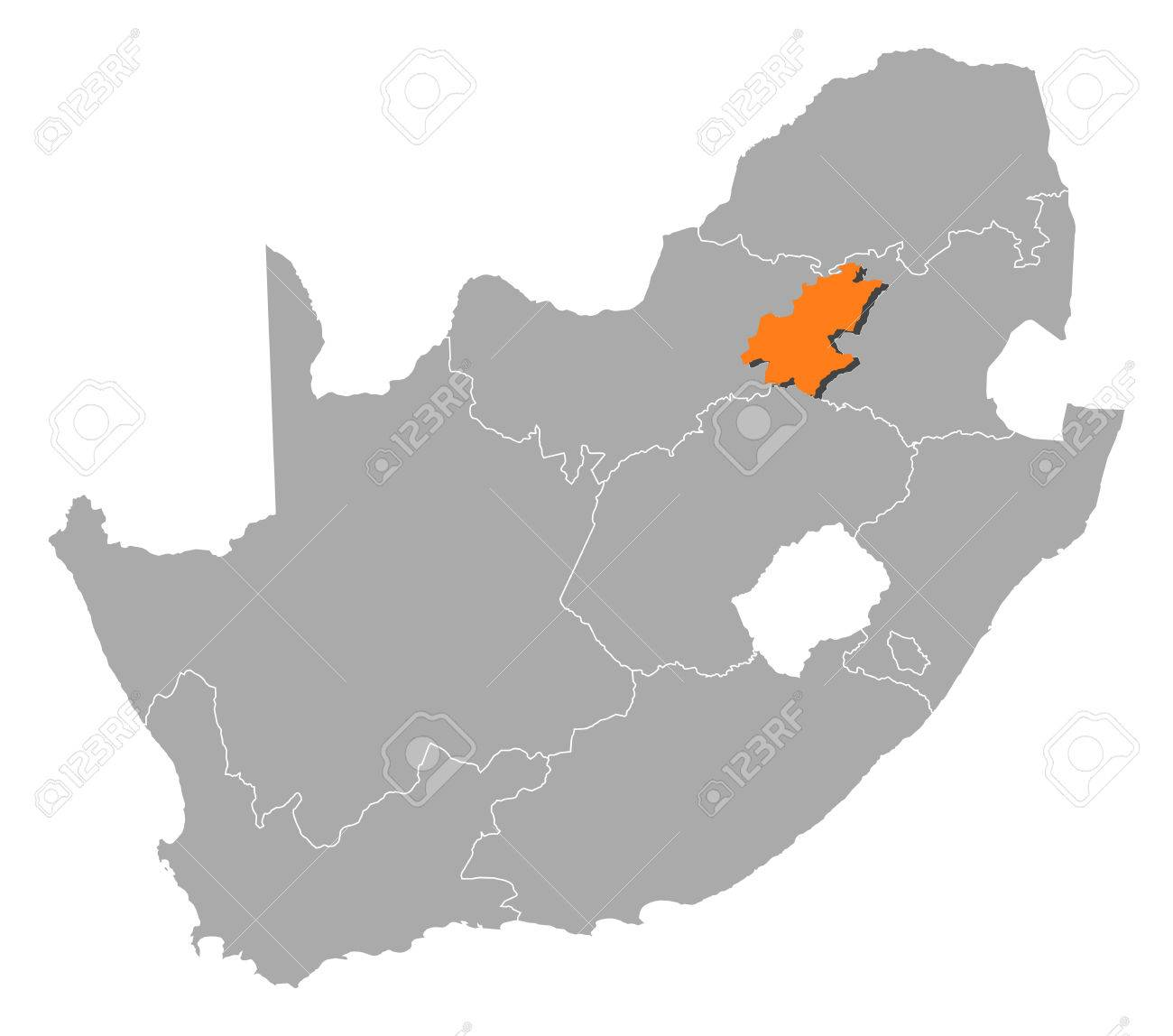Map Of South Africa With The Provinces, Gauteng Is Highlighted