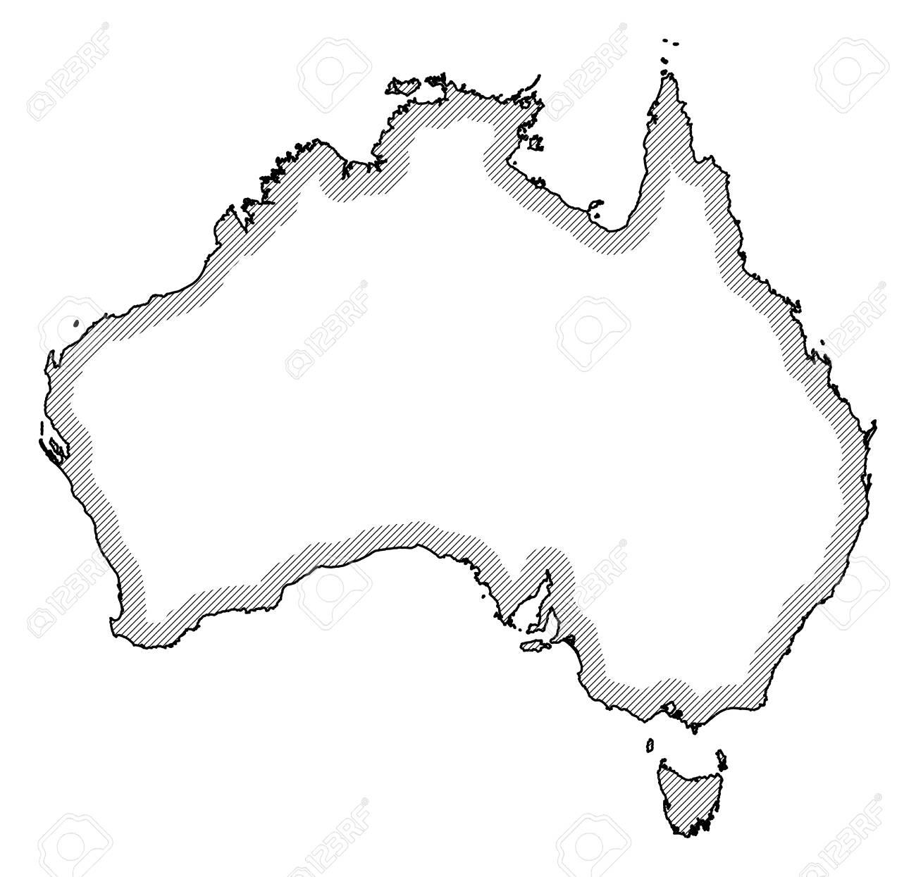 Australia Map Black And White.Map Of Australia In Black And White Australia Is Highlighted