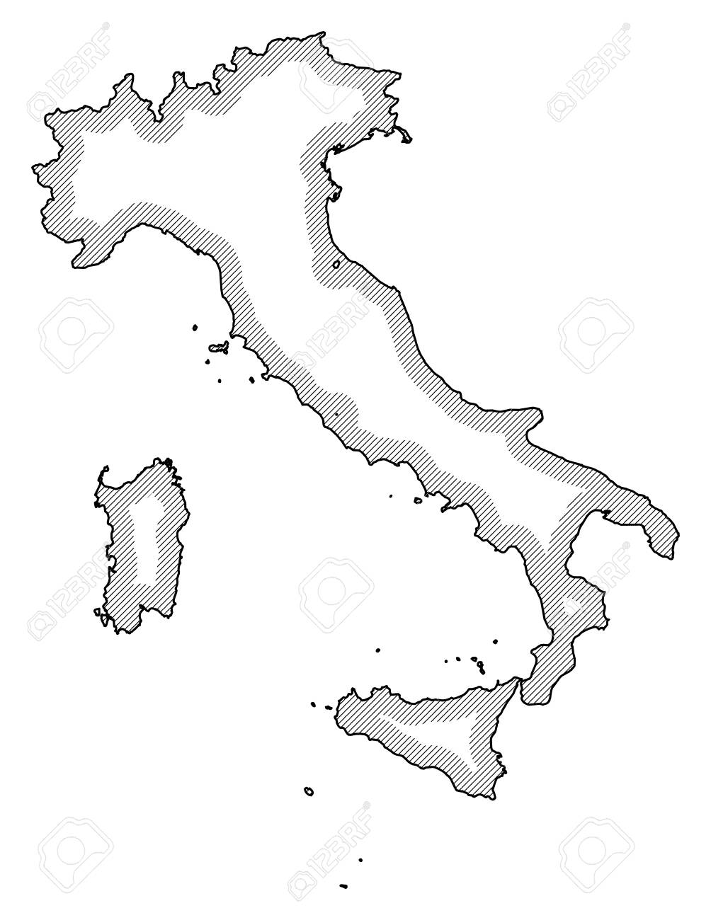 Map Of Italy Black And White.Map Of Italy In Black And White Italy Is Highlighted By A Hatching