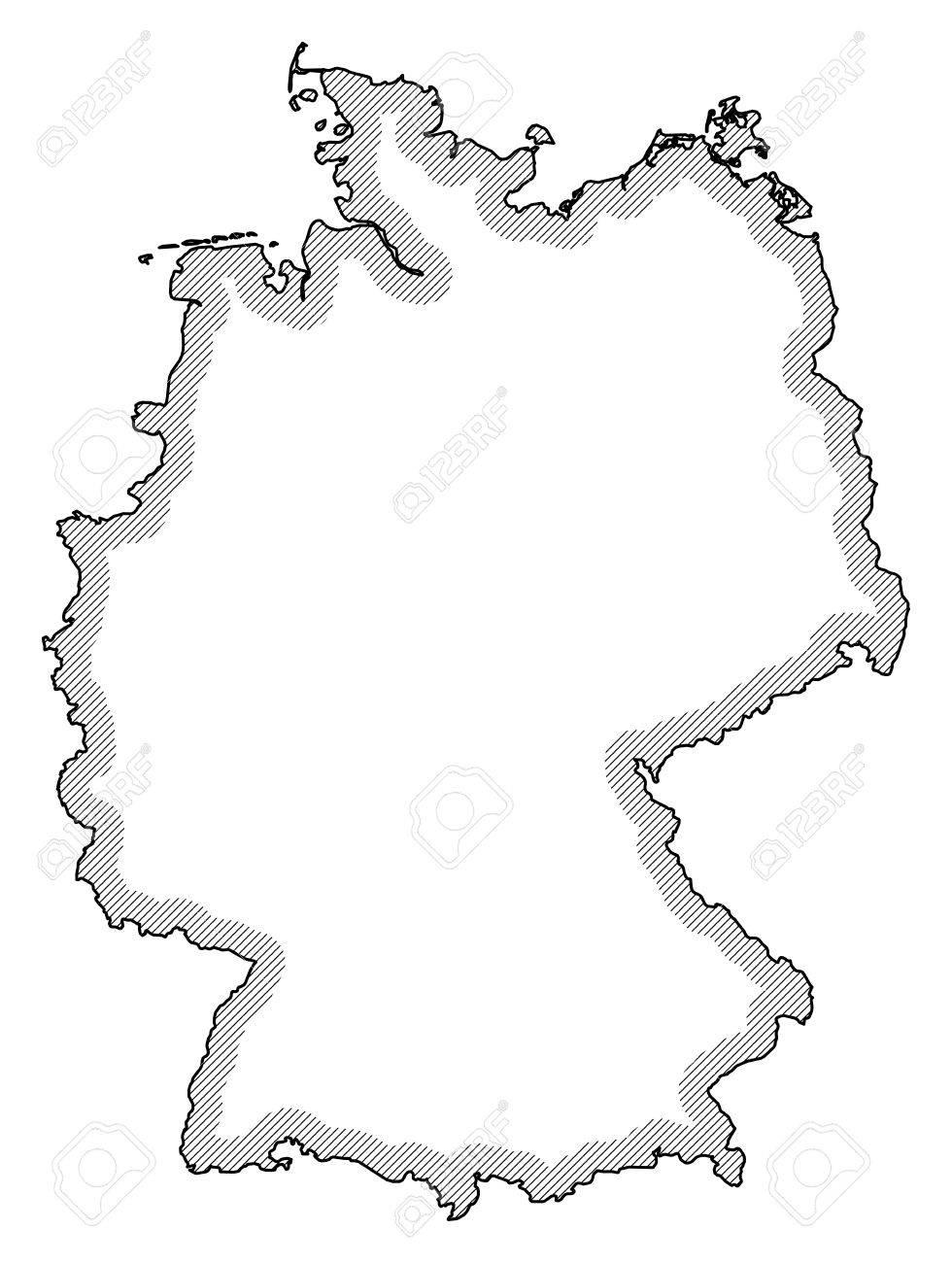Carte Allemagne Noir Et Blanc.Carte De L Allemagne En Noir Et Blanc L Allemagne Est Mise En Evidence Par Une Eclosion