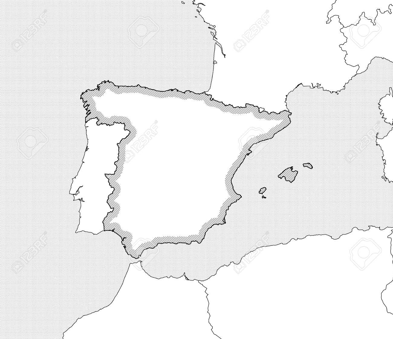 Carte Espagne Noir Et Blanc.Carte De L Espagne Et Les Pays Voisins En Noir Et Blanc L Espagne Est Soulignee Par Une Eclosion