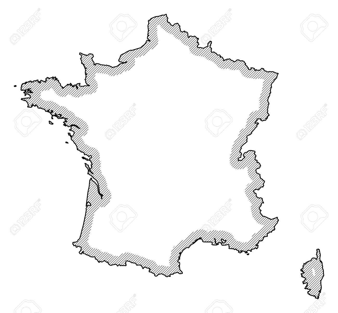 Cartina Della Francia In Bianco E Nero.Mappa Della Francia In Bianco E Nero La Francia E Evidenziato Da Un Tratteggio