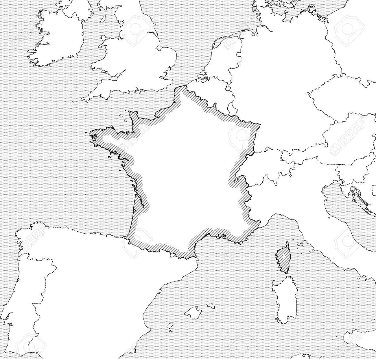 Cartina Della Francia In Bianco E Nero.Mappa Della Francia E Paesi Vicini In Bianco E Nero La Francia E Evidenziato Da Un Tratteggio