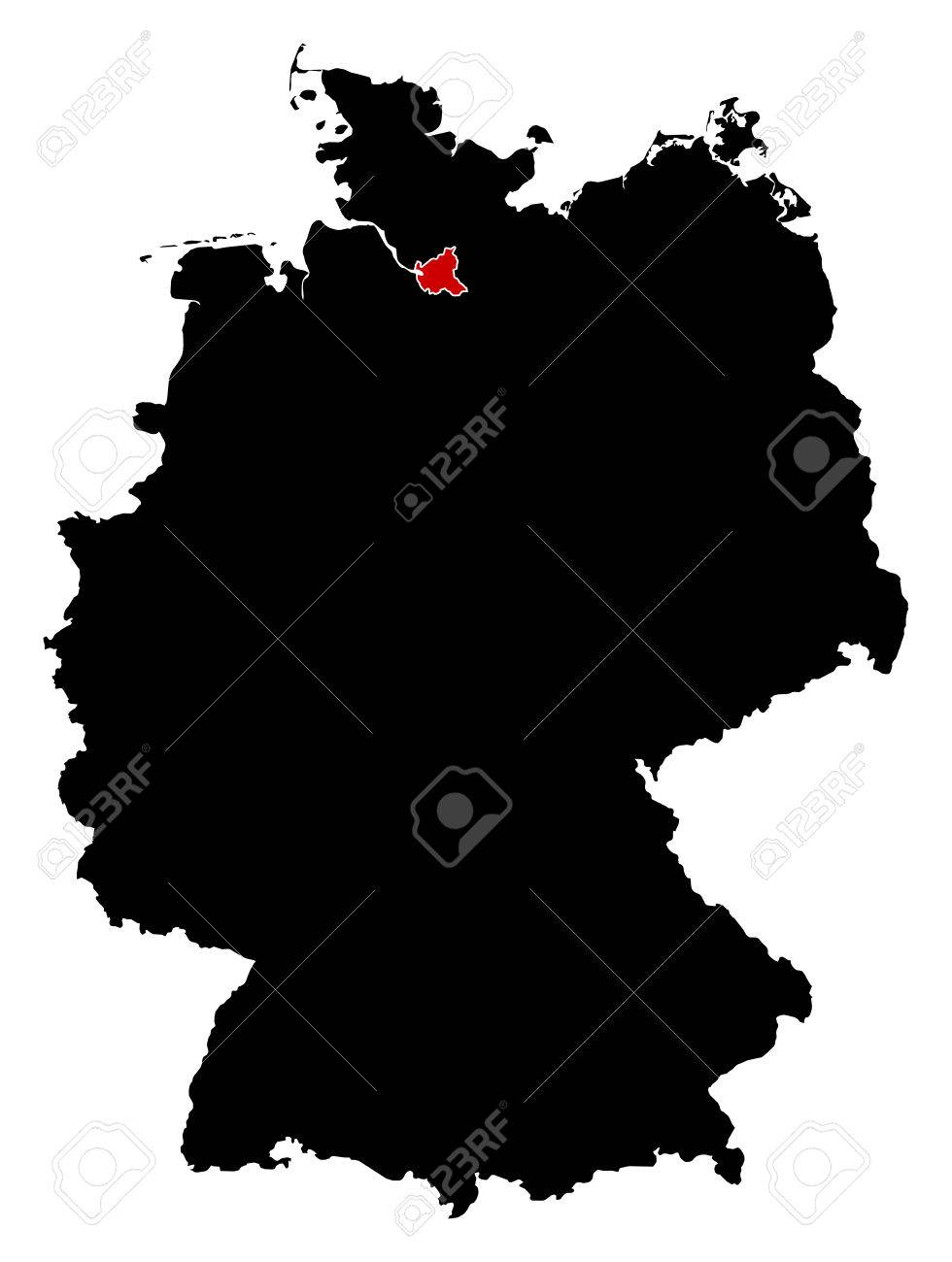 Map Of Germany Hamburg.Map Of Germany In Black Hamburg Is Highlighted In Red