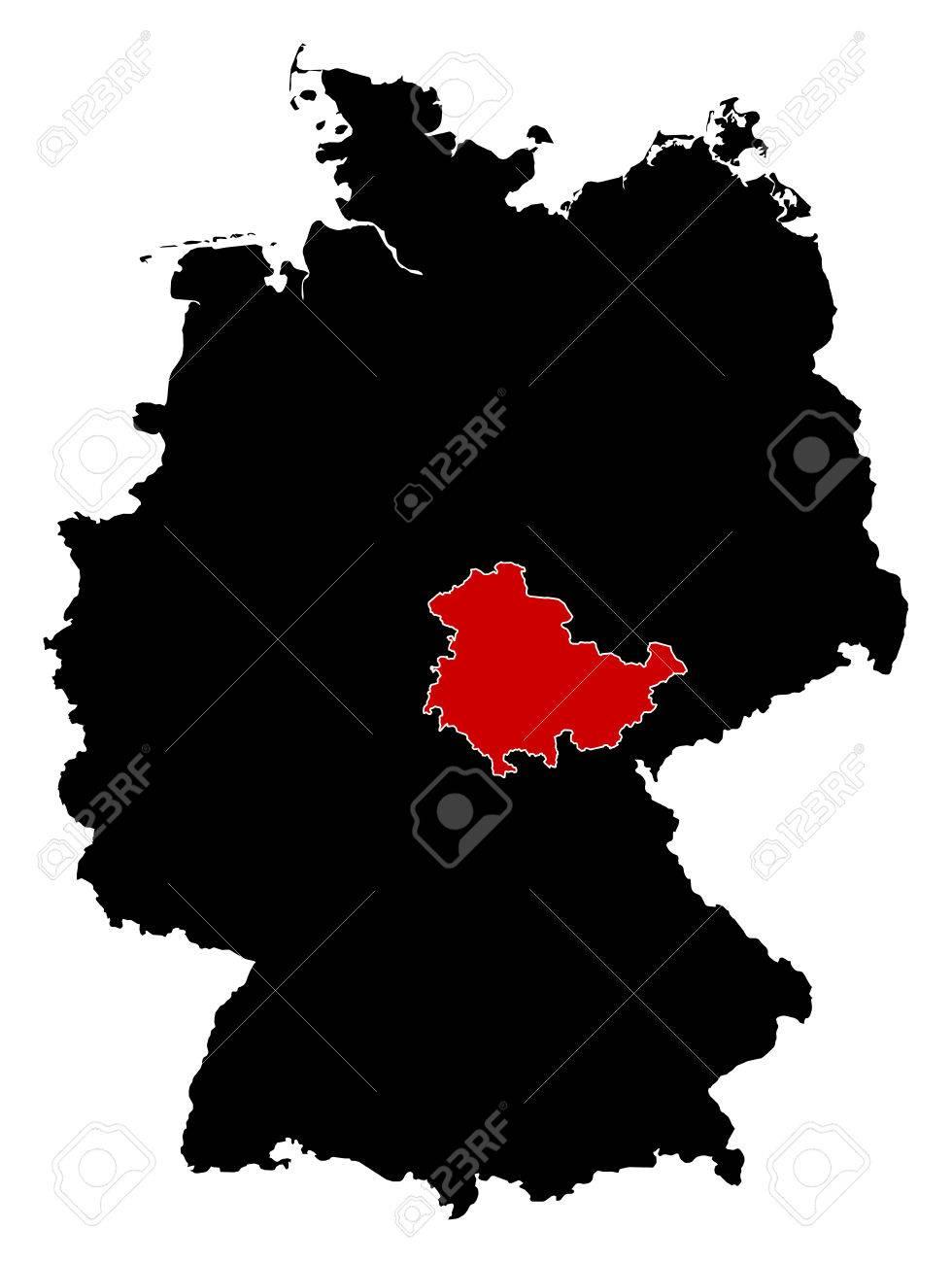 Carte Allemagne Thuringe.Carte De L Allemagne En Noir La Thuringe Est Surlignee En Rouge