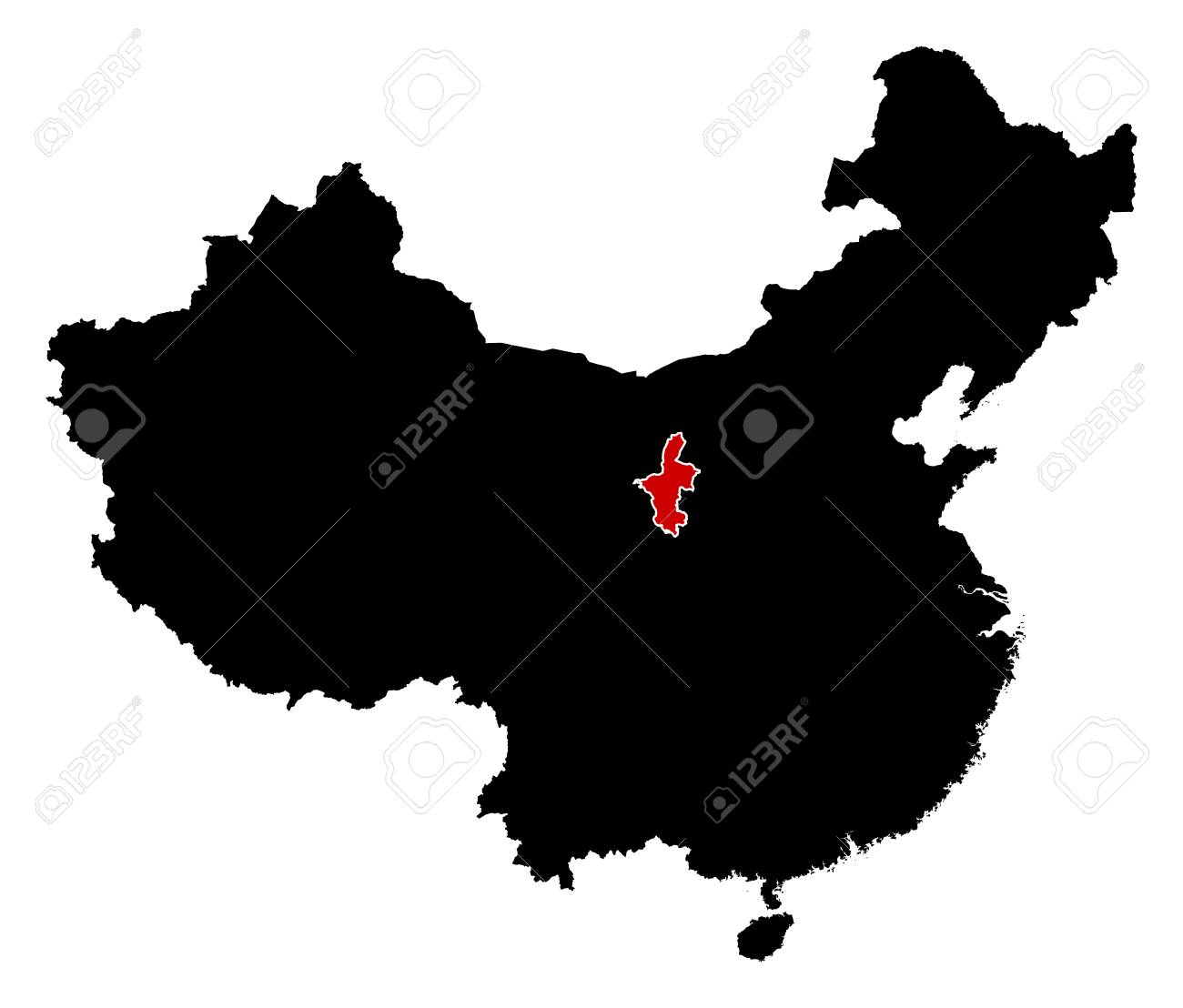 Ningxia China Map.Map Of China In Black Ningxia Is Highlighted In Red Royalty Free