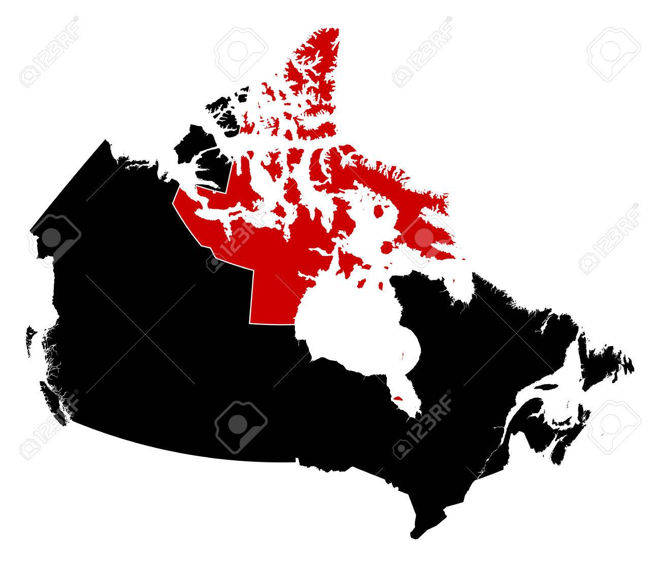 Map of canada in black nunavut is highlighted in red royalty free map of canada in black nunavut is highlighted in red stock vector 58177393 gumiabroncs Gallery