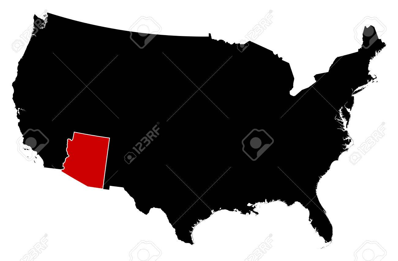 Map Of United States In Black, Arizona Is Highlighted In Red ...
