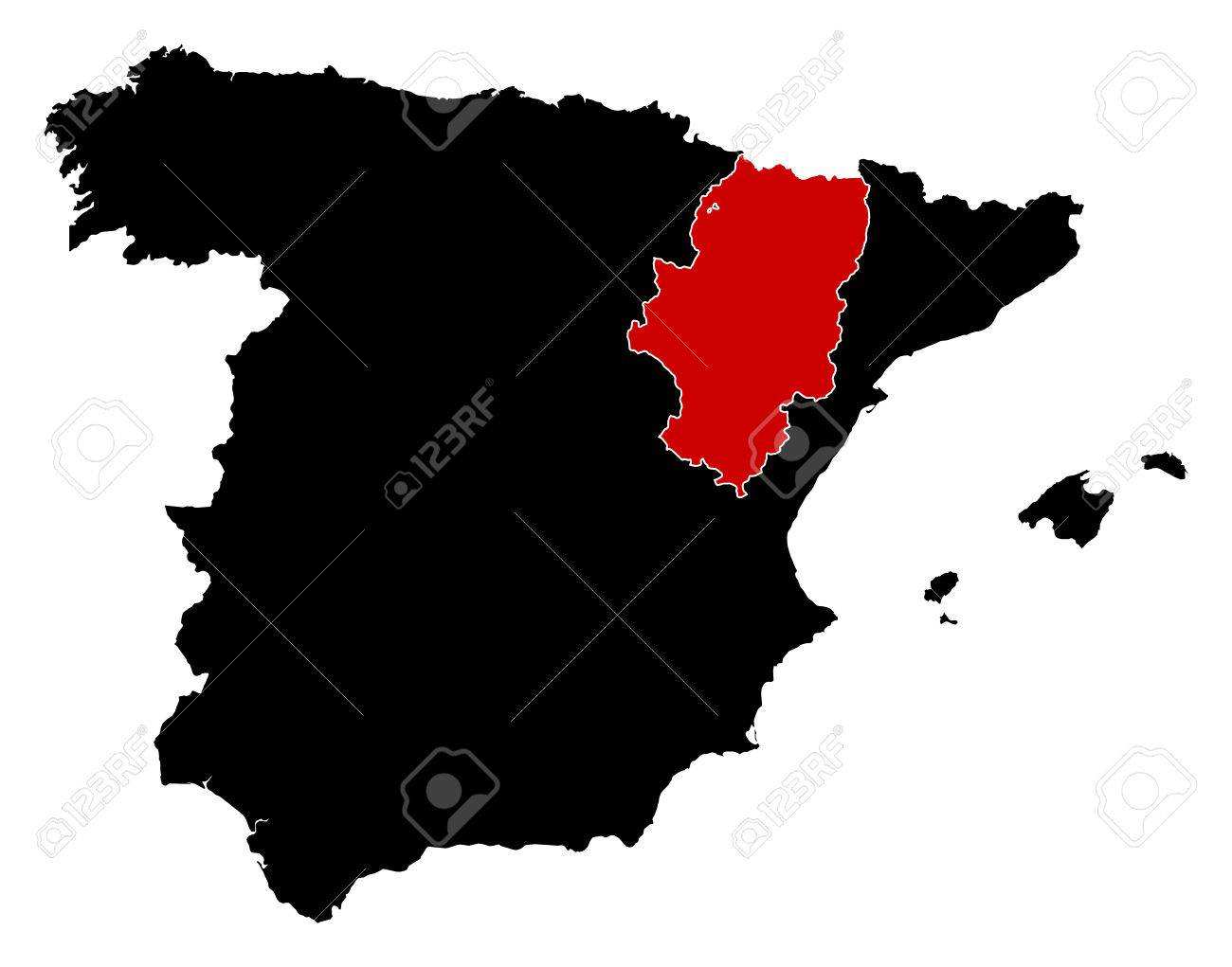 Map Of Spain In Black Aragon Is Highlighted In Red Royalty Free