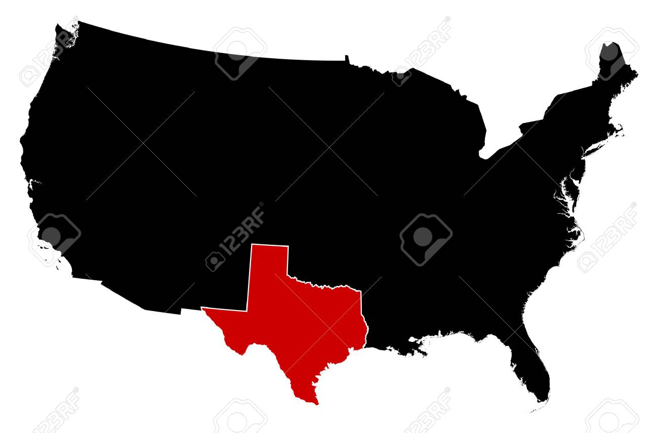 Map Of United States In Black, Texas Is Highlighted In Red