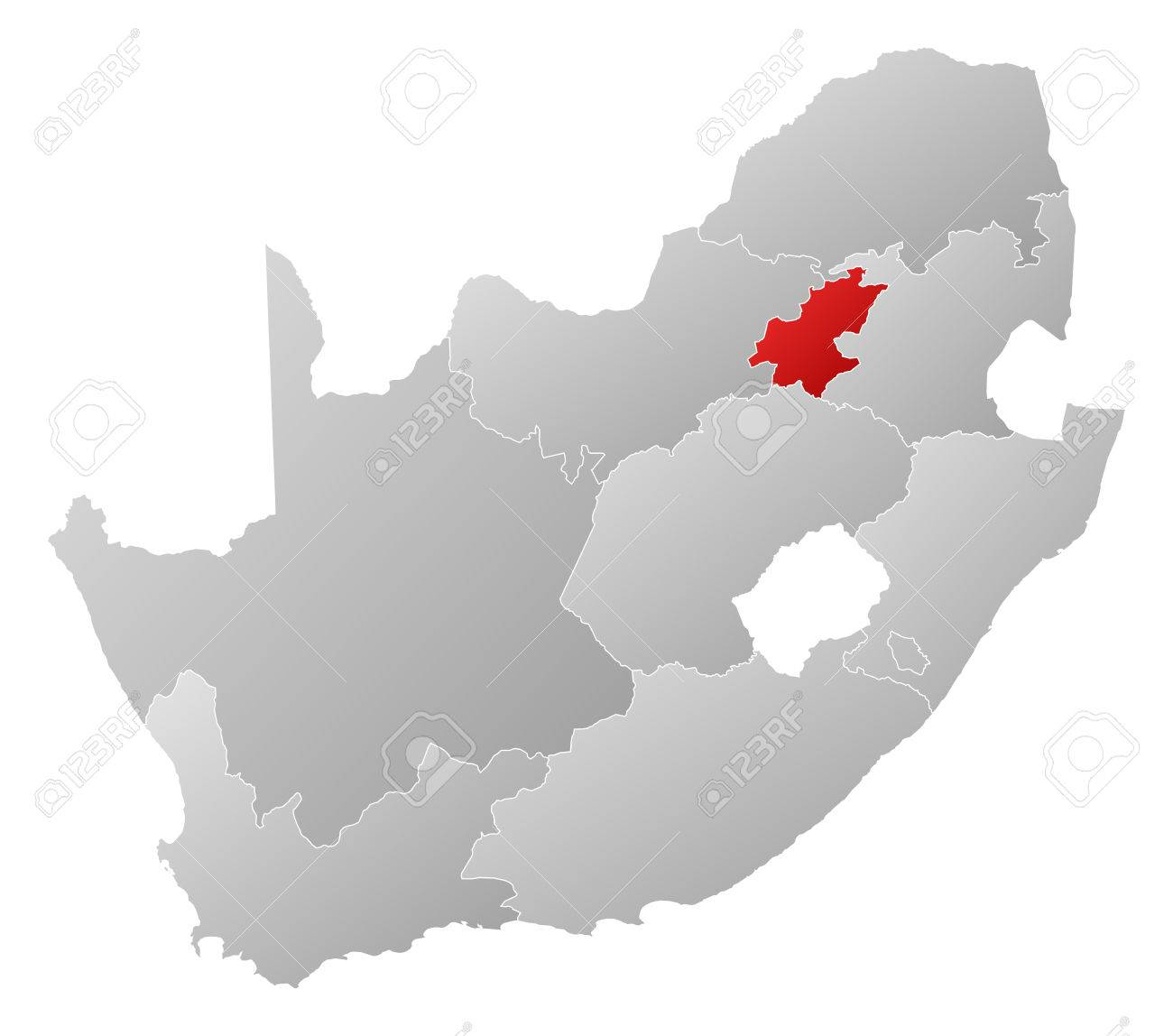 Map of south africa with the provinces filled with a linear map of south africa with the provinces filled with a linear gradient gauteng is gumiabroncs Choice Image