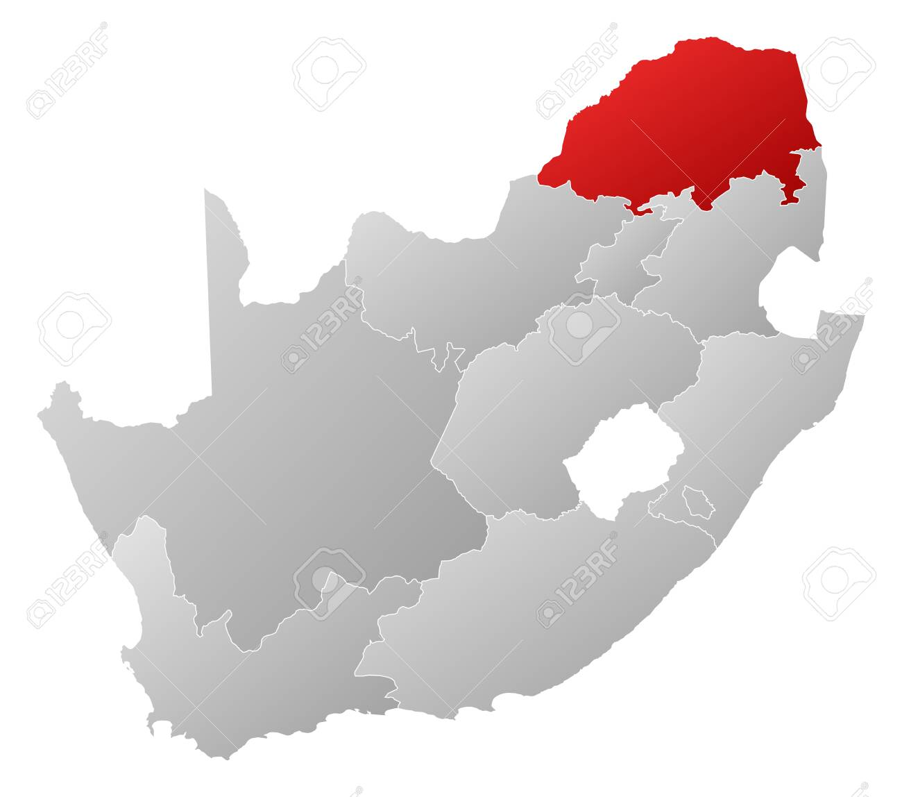 Map of south africa with the provinces filled with a linear map of south africa with the provinces filled with a linear gradient limpopo is gumiabroncs Image collections
