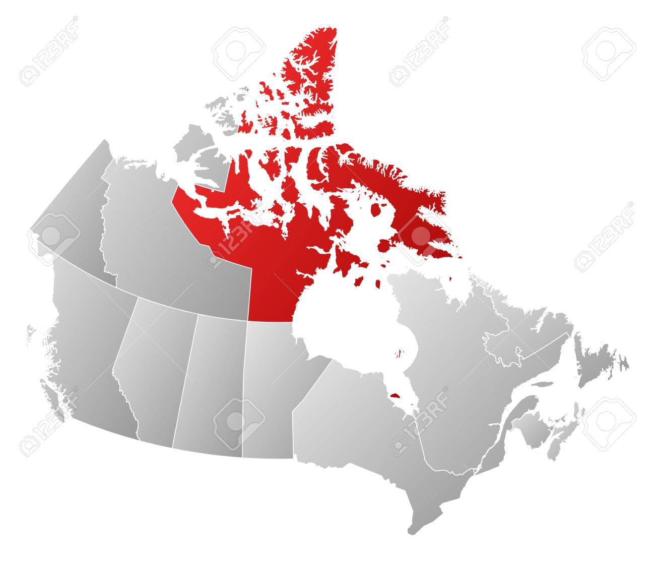 Map Of Canada Nunavut.Map Of Canada With The Provinces Filled With A Linear Gradient