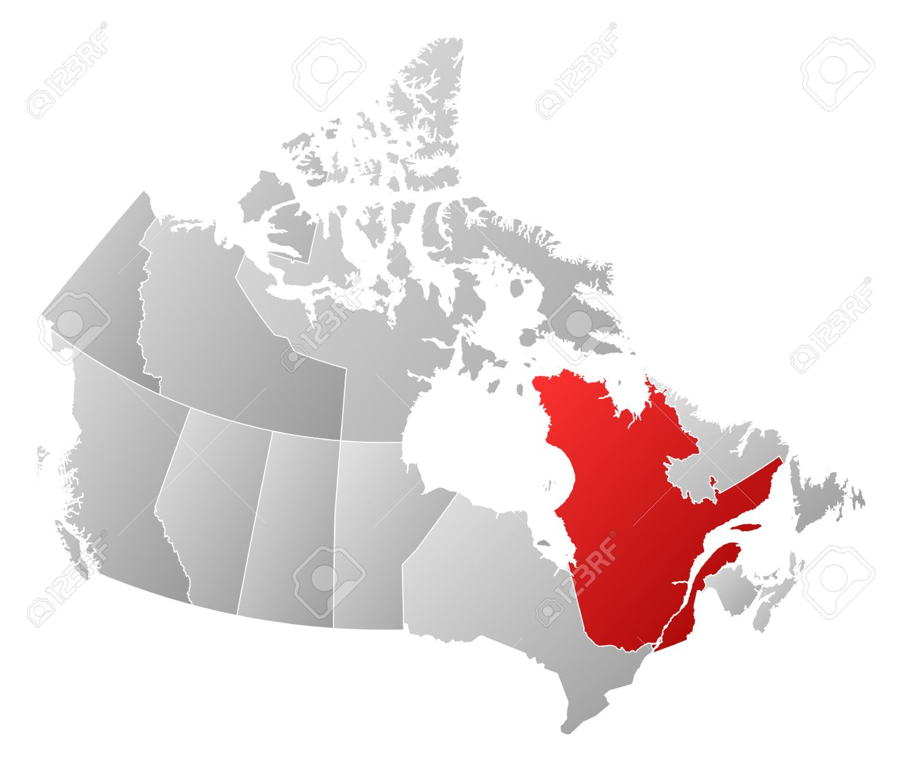 map of canada with the provinces filled with a linear gra nt