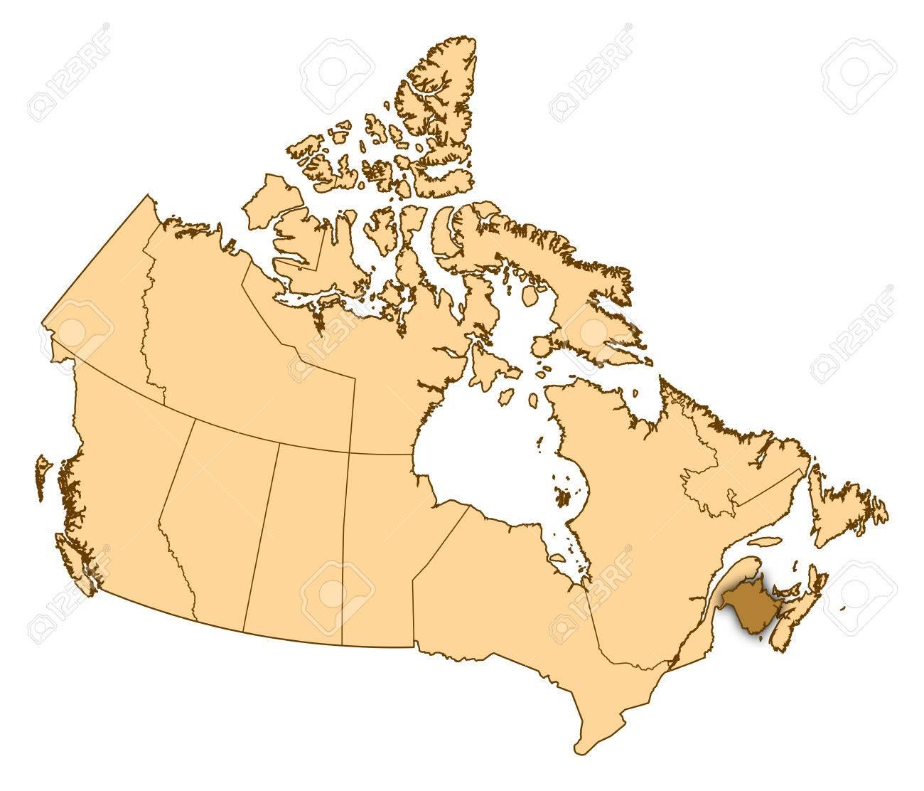 Carte Canada Nouveau Brunswick.Carte Du Canada Avec Les Provinces Le Nouveau Brunswick Est Mis En Evidence