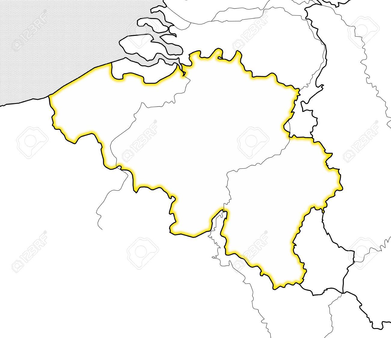 Belgien Karte Umriss.Stock Photo