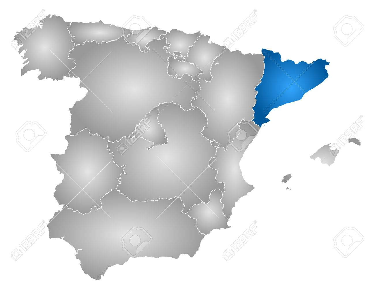 Map Of Spain With Catalonia Highlighted.Map Of Spain With The Provinces Filled With A Radial Gradient