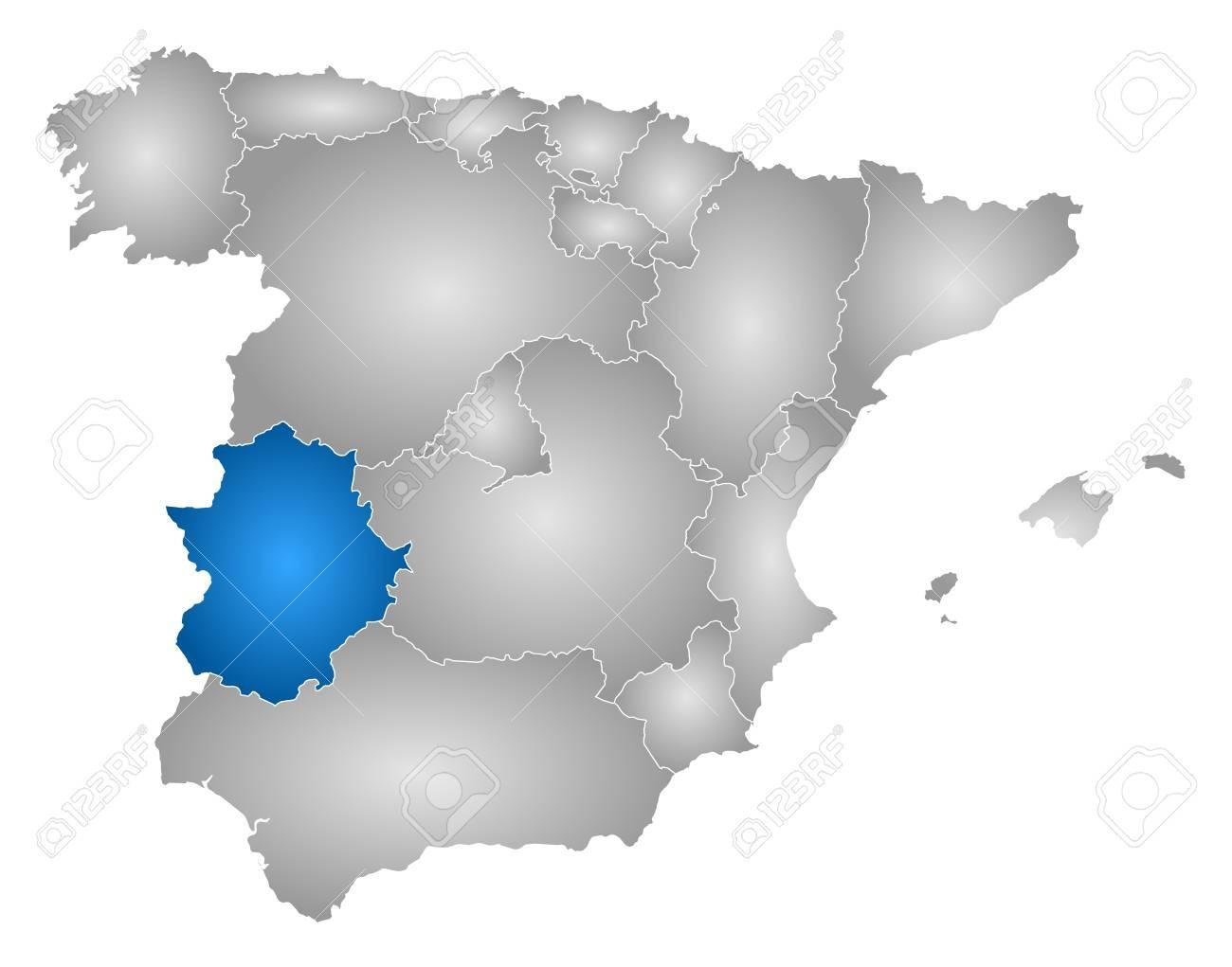 Karte Von Spanien Mit Den Provinzen Gefullt Mit Einem Radialen
