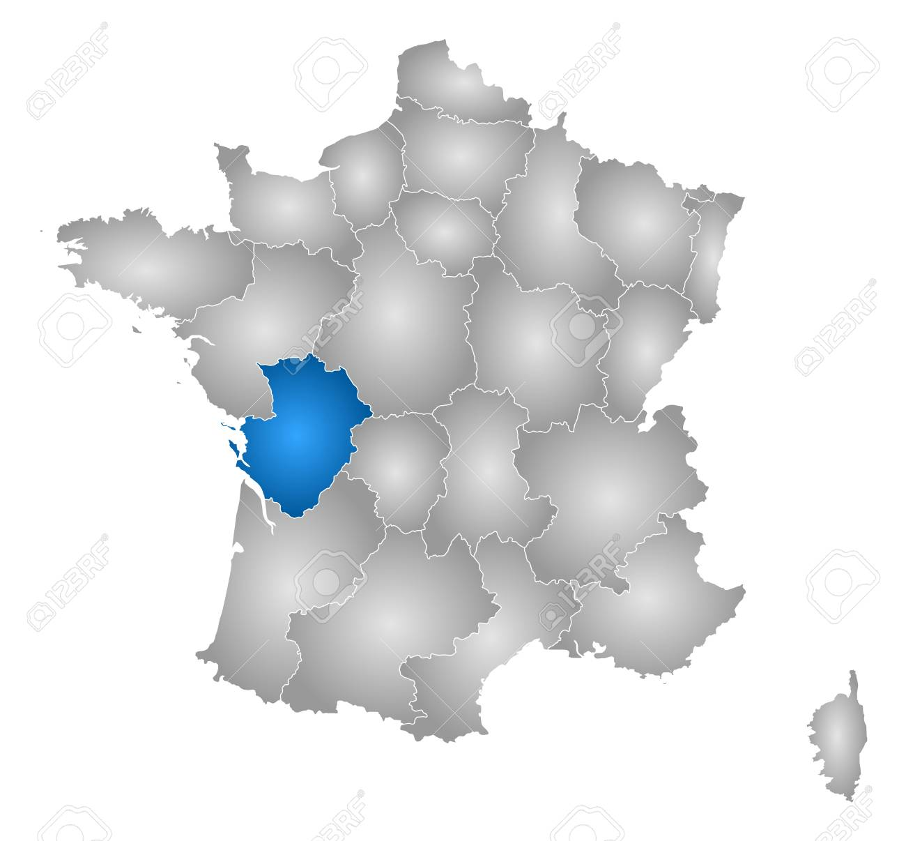Carte De France Avec Les Provinces Remplie Dun Gradient Radial Poitou Charentes Est Mis En évidence