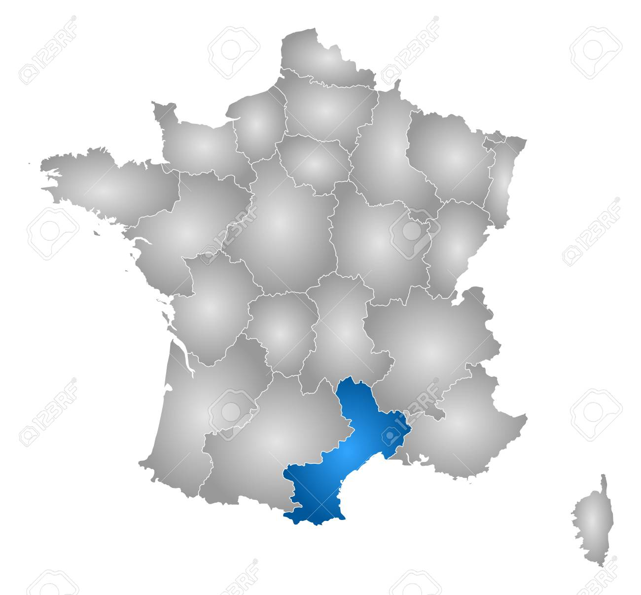 Map of france with the provinces filled with a radial gradient map of france with the provinces filled with a radial gradient languedoc roussillon gumiabroncs Images