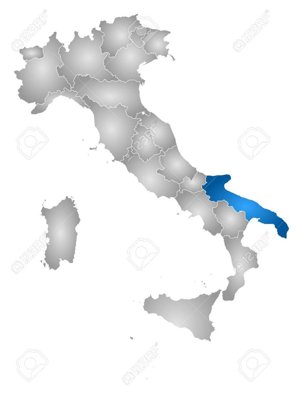 Apulien Karte Italien.Stock Photo