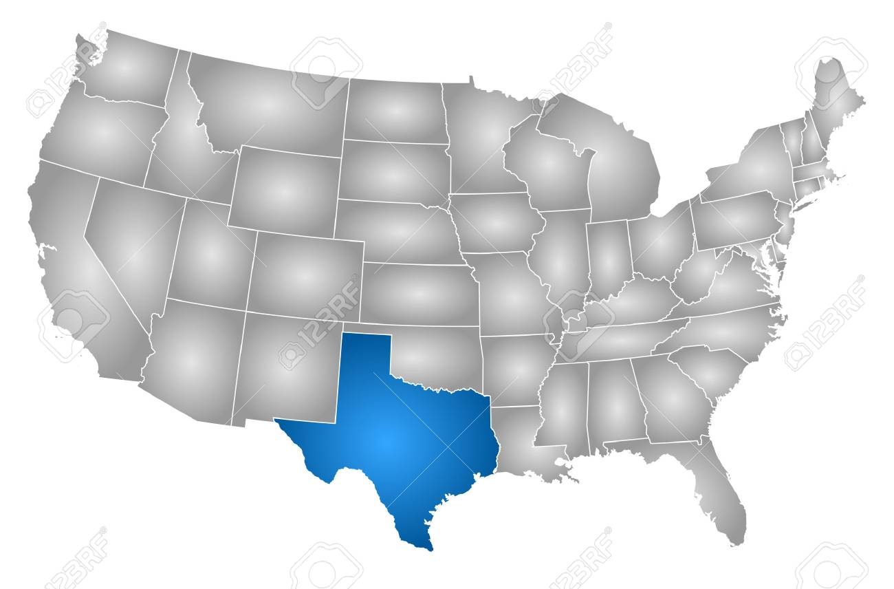 Map of United States with the provinces, filled with a radial..