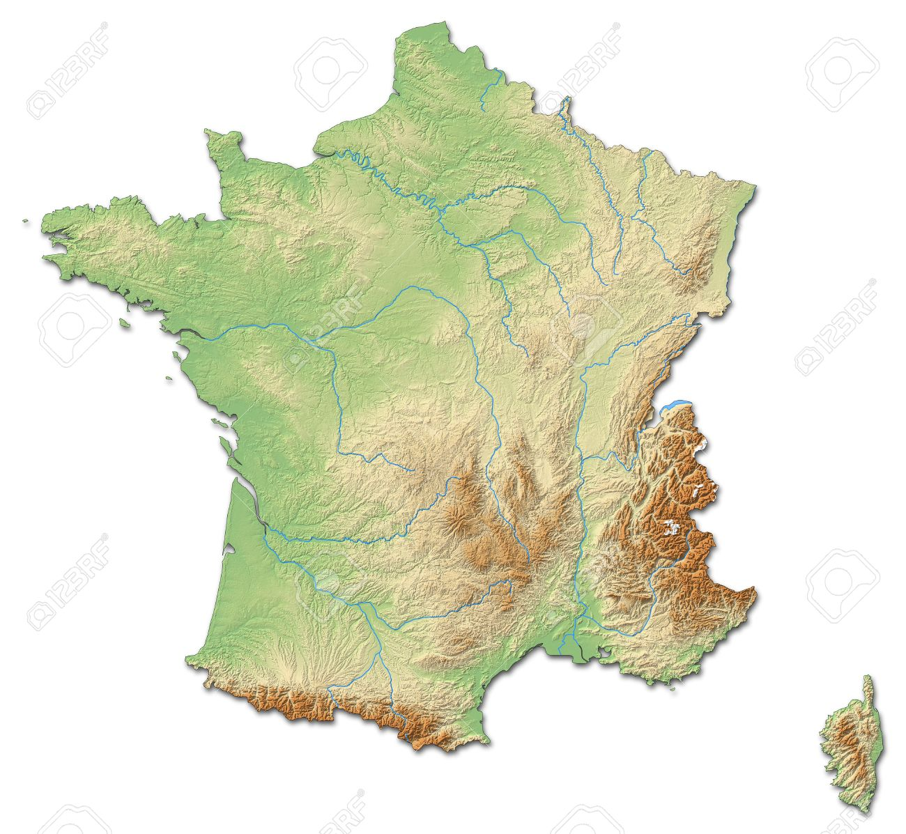 carte de france en relief Relief Map Of France With Shaded Relief. Stock Photo, Picture And