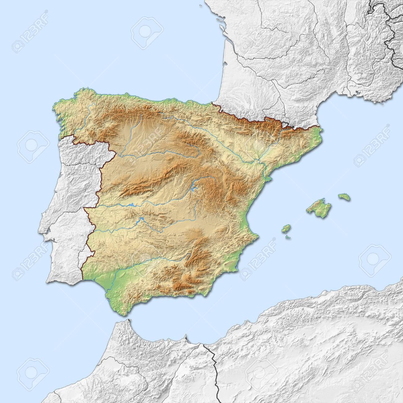 Carte Espagne Noir Et Blanc.Carte Du Relief De L Espagne Avec Relief Ombre Les Pays Voisins Sont En Noir Et Blanc