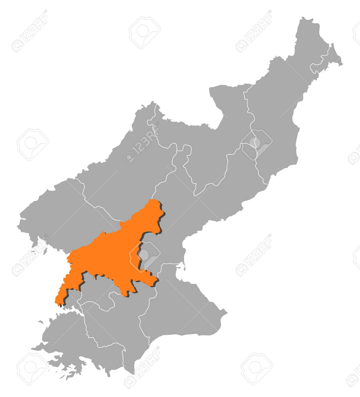Map of north korea with the provinces south pyongan is map of north korea with the provinces south pyongan is highlighted by orange stock gumiabroncs Images