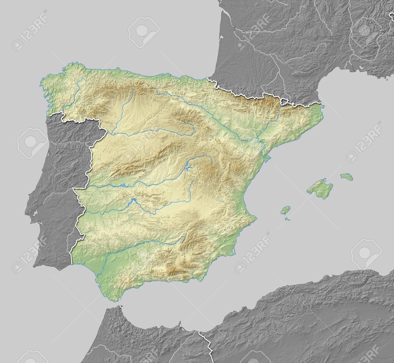 Carte Espagne Noir Et Blanc.Carte De L Espagne Avec Relief Ombre Les Pays Voisins Sont En Noir Et Blanc