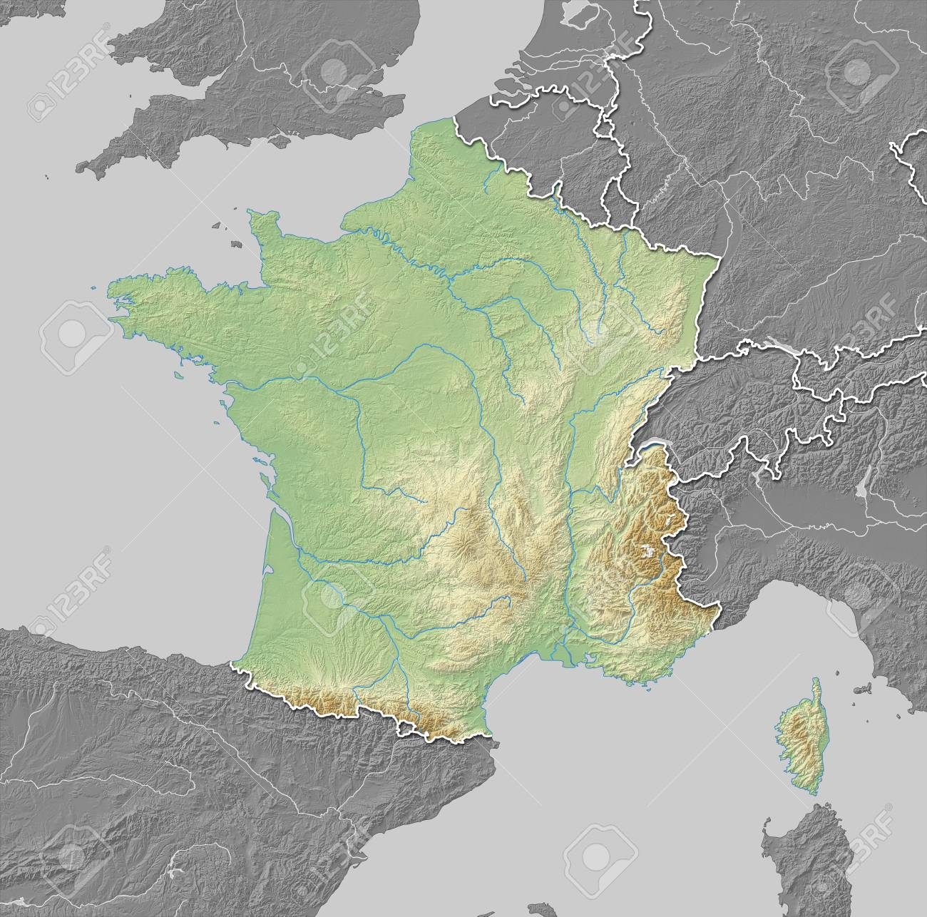 Country Map Of France.Map Of France With Shaded Relief The Nearby Countries Are In