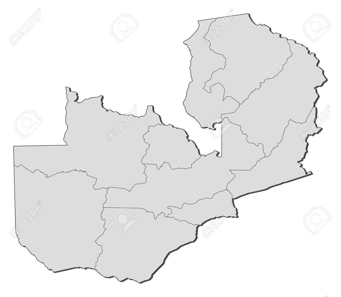 Zambian Map Vector.Map Of Zambia With The Provinces