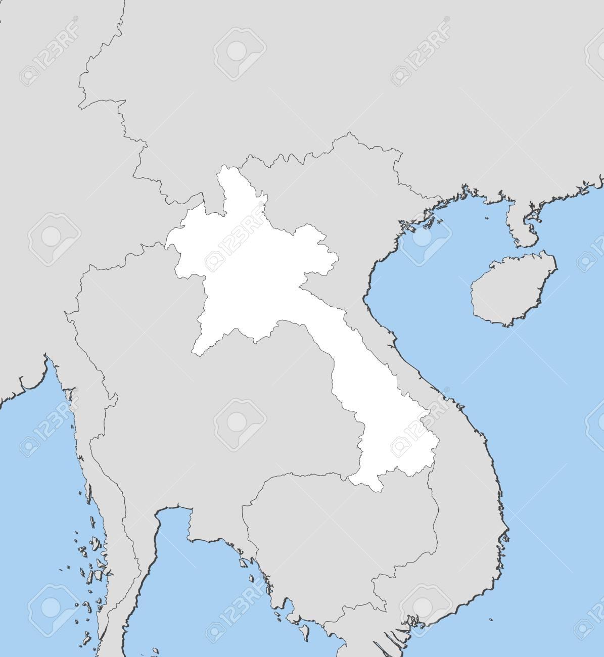 Laos Karte.Stock Photo
