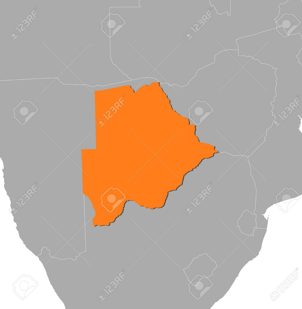 Map of botswana and nearby countries botswana is highlighted map of botswana and nearby countries botswana is highlighted in orange stock vector gumiabroncs Image collections