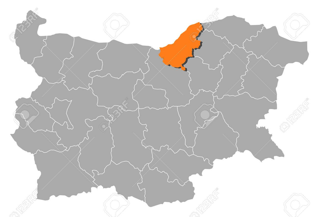 Map Of Bulgaria With The Provinces Ruse Is Highlighted By Orange