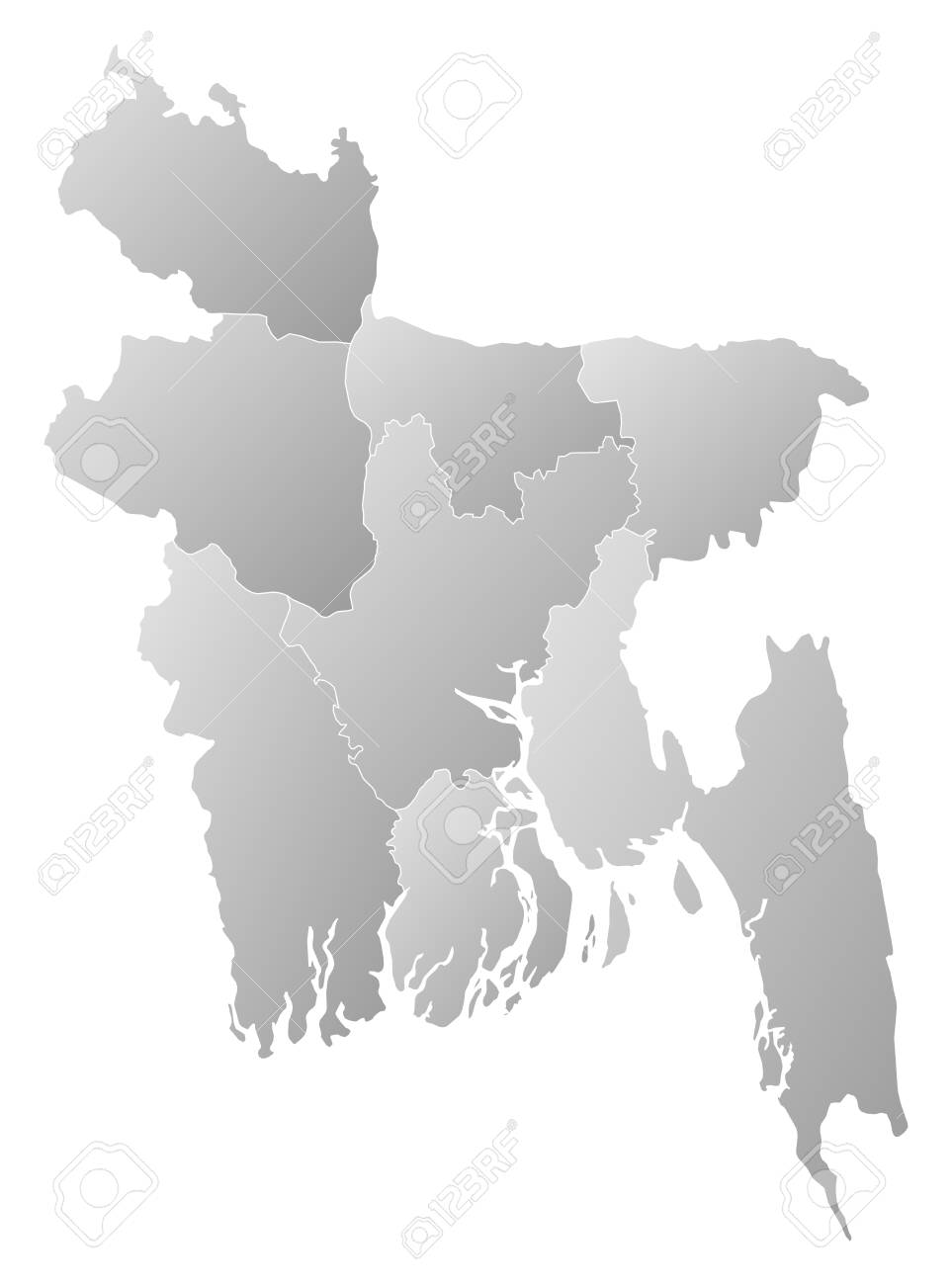 Map Of Bangladesh With The Provinces Filled With A Linear Gra Nt