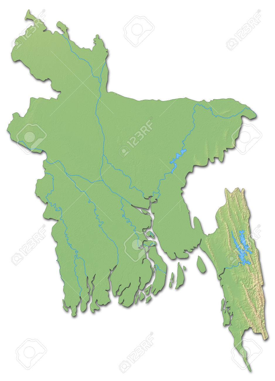 Relief Map Of Bangladesh With Shaded Relief