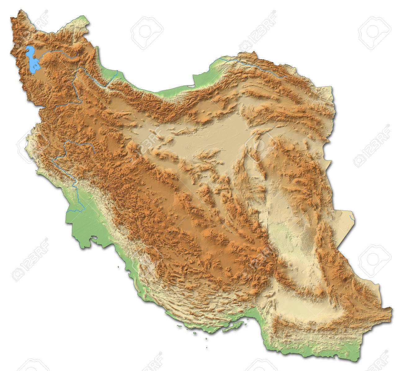 relief map of iran with shaded relief stock photo 60085501