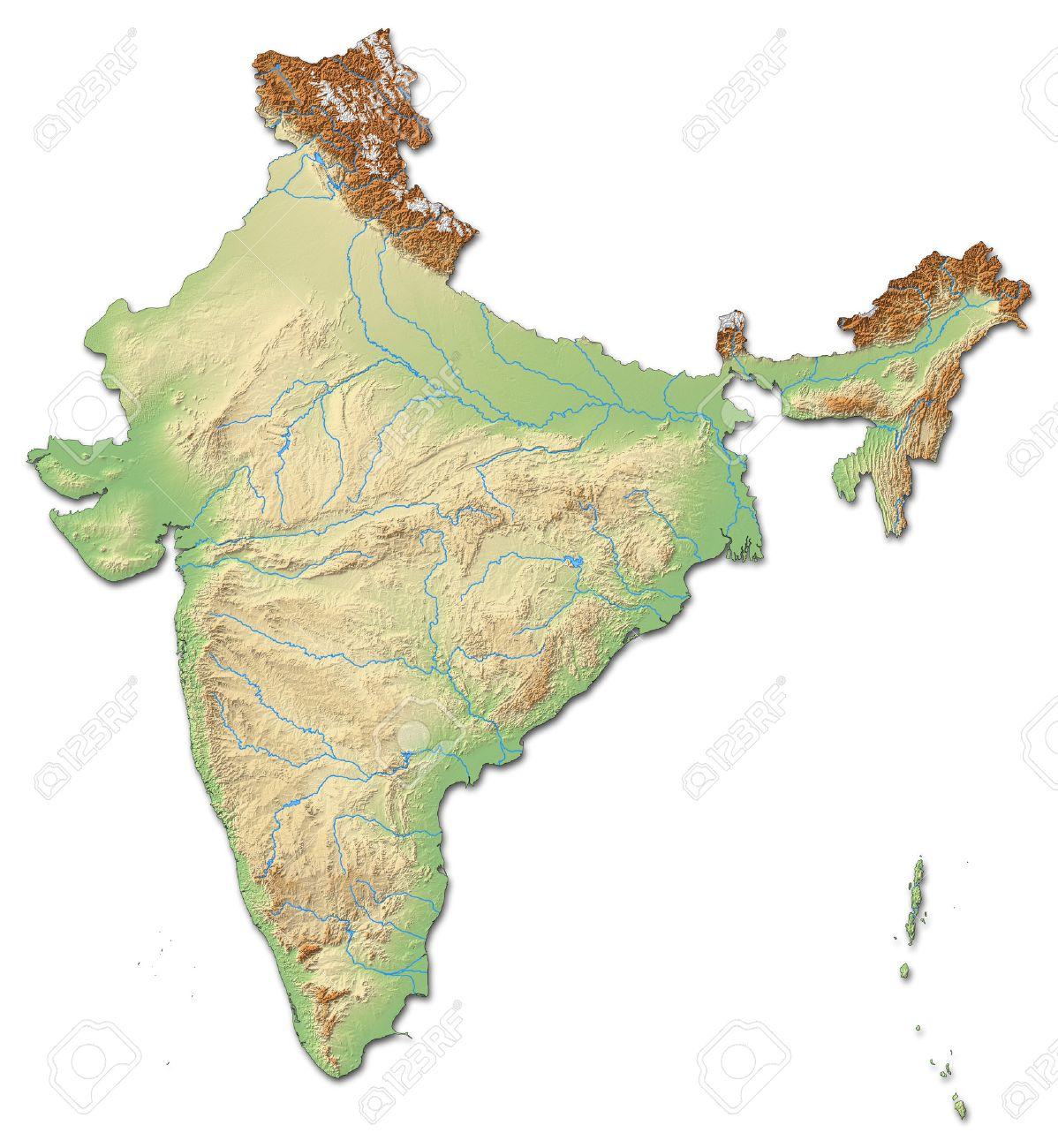 Carte Inde Relief.Carte De L Inde Relief Avec Relief Ombre